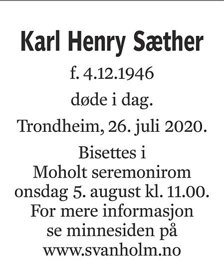 Karl Henry Sæther Dødsannonse