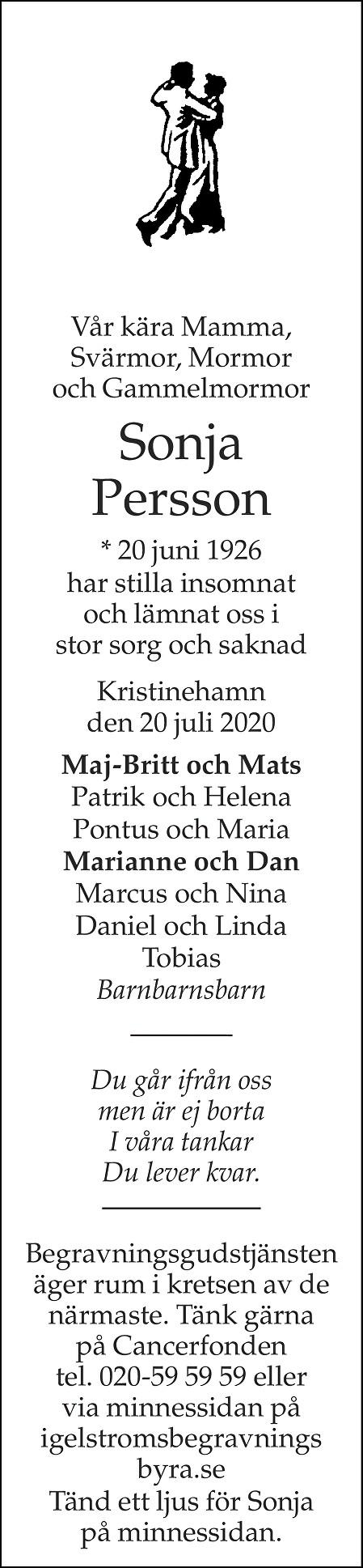 Sonja Persson Death notice