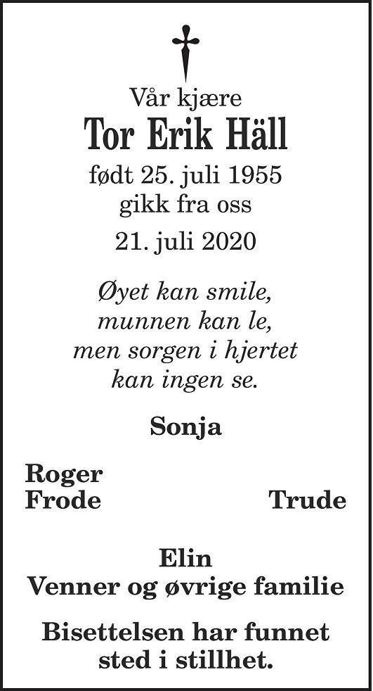 Tor Erik Hall Dødsannonse
