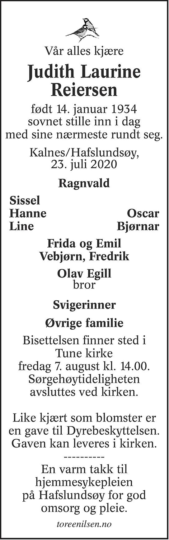 Judith Laurine Reiersen Dødsannonse