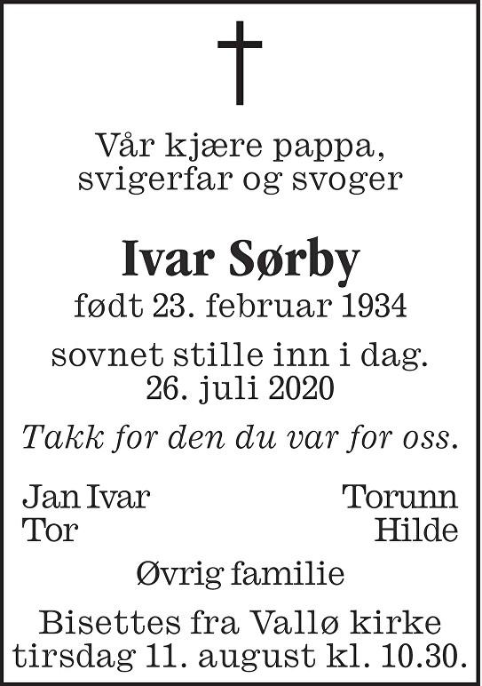 Ivar Sørby Dødsannonse