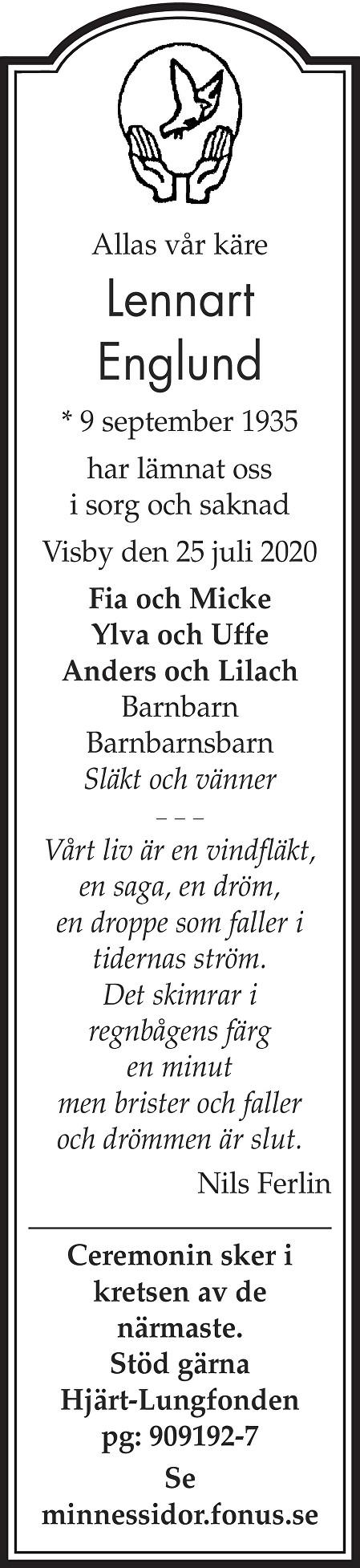 Lennart Englund Death notice