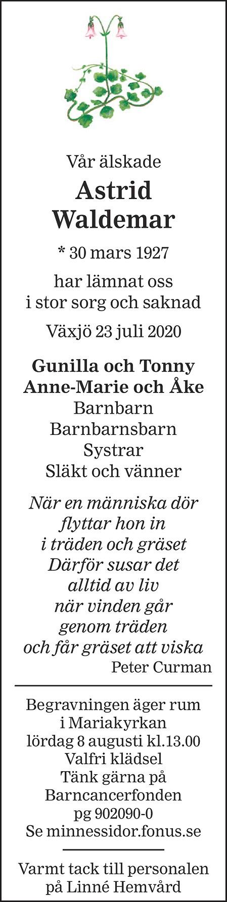 Astrid Waldemar Death notice