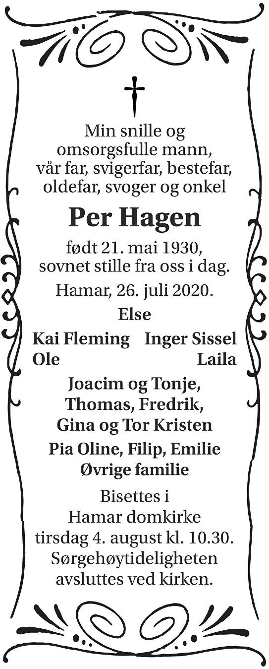 Per Hagen Dødsannonse