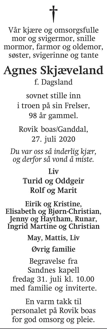 Agnes Skjæveland Dødsannonse