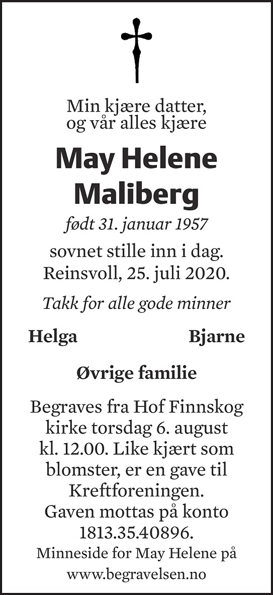 May Helene Maliberg Dødsannonse
