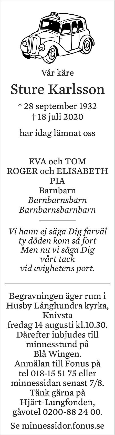 Sture Karlsson Death notice
