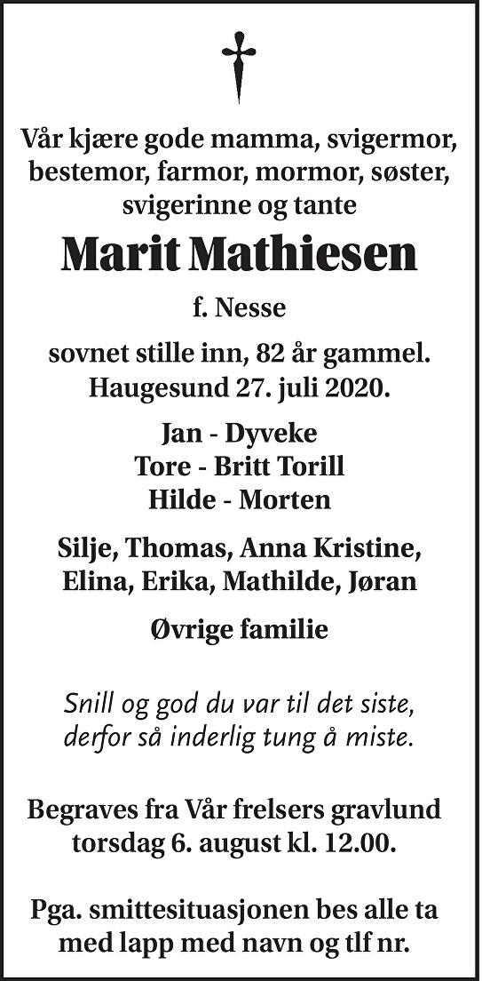 Marit Mathiesen Dødsannonse