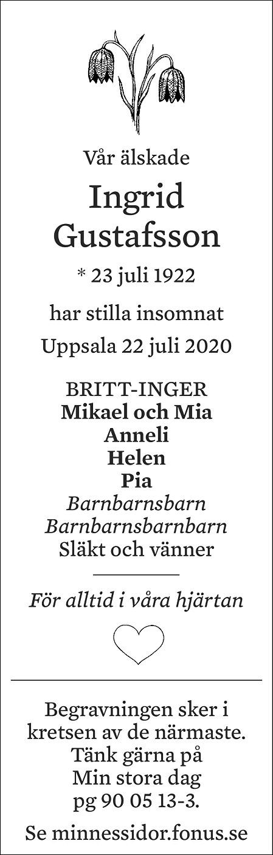 Ingrid Gustafsson Death notice