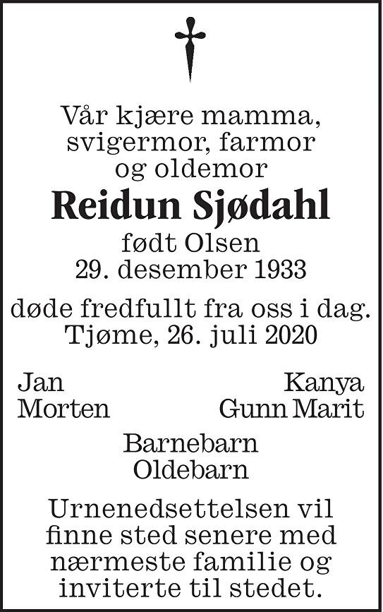 Reidun Sjødahl Dødsannonse