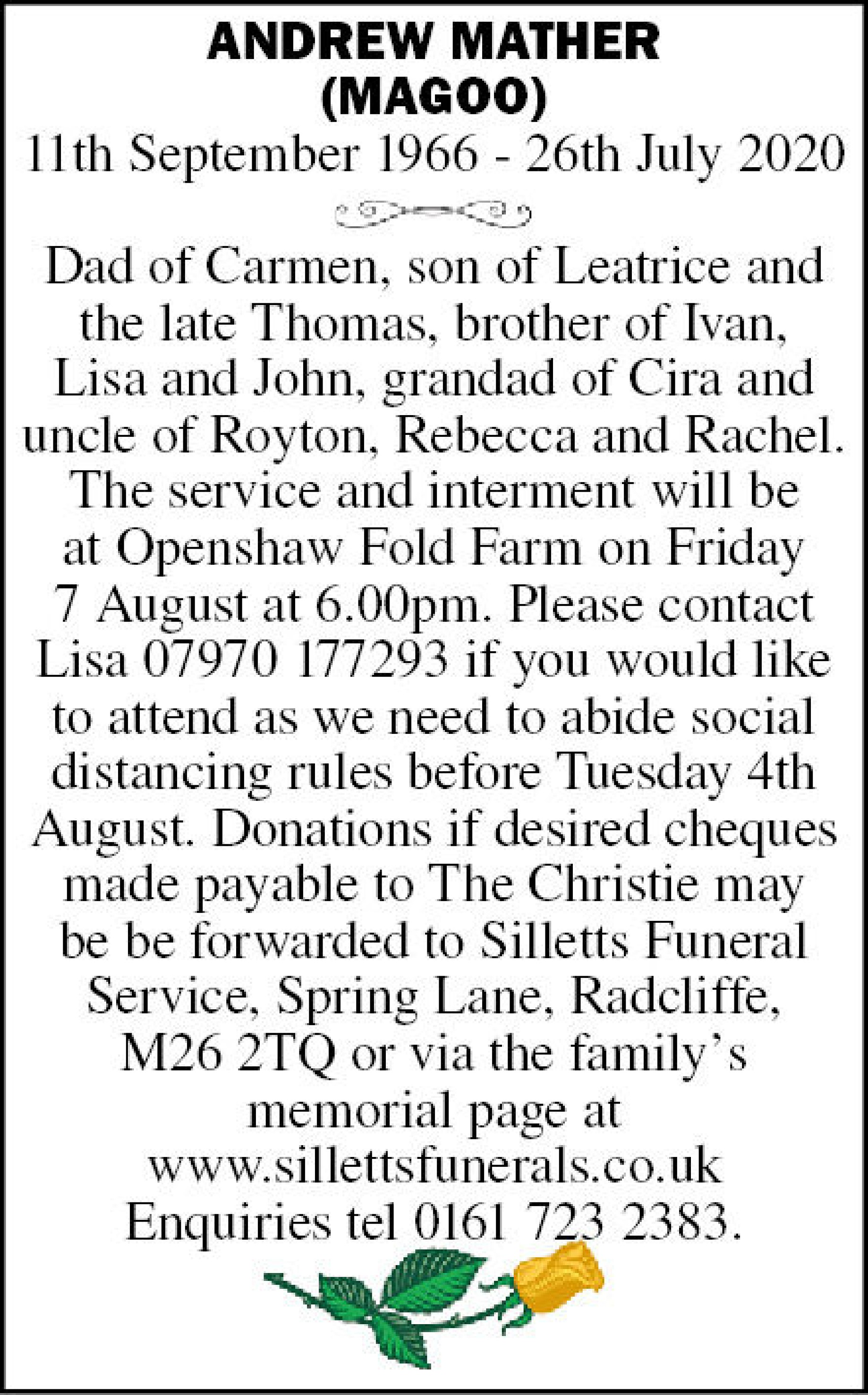 Andrew  Mather Death notice