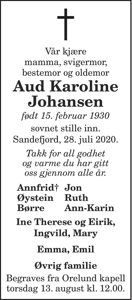 Aud Karoline Johansen Dødsannonse