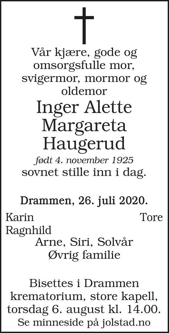 Inger Alette Margareta Haugerud Dødsannonse
