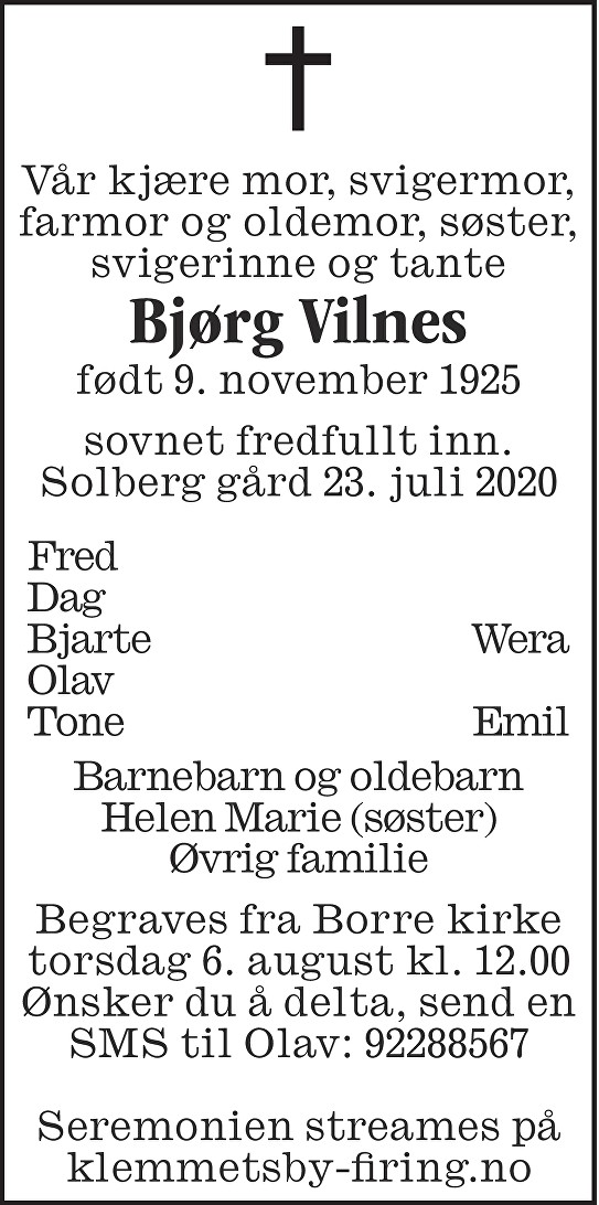 Bjørg Vilnes Dødsannonse