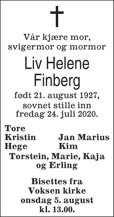 Liv Helene Finberg Dødsannonse