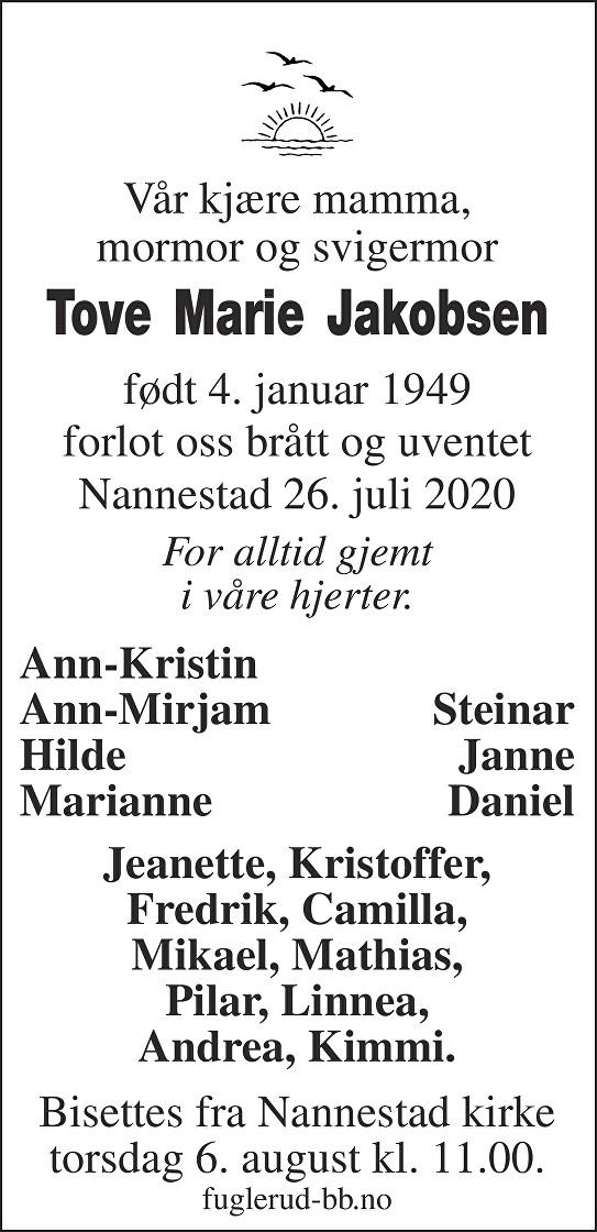 Tove Marie Jakobsen Dødsannonse