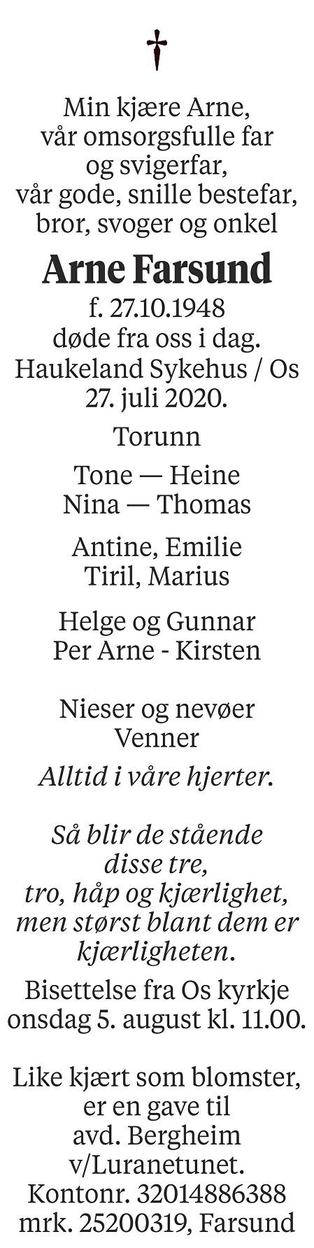 Arne Farsund Dødsannonse