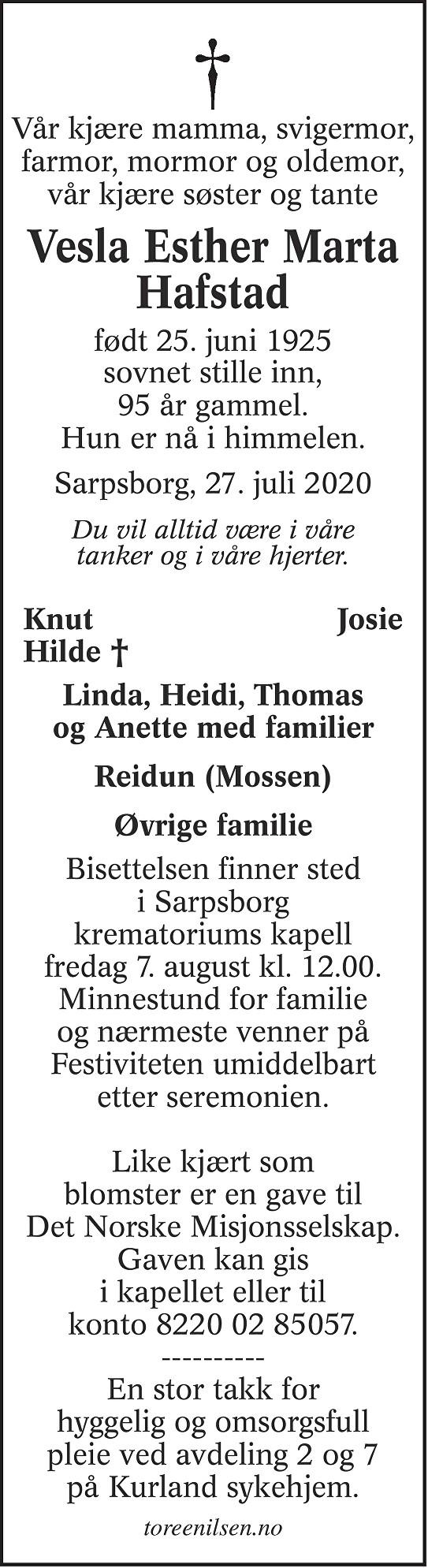 Vesla Esther Marta Hafstad Dødsannonse