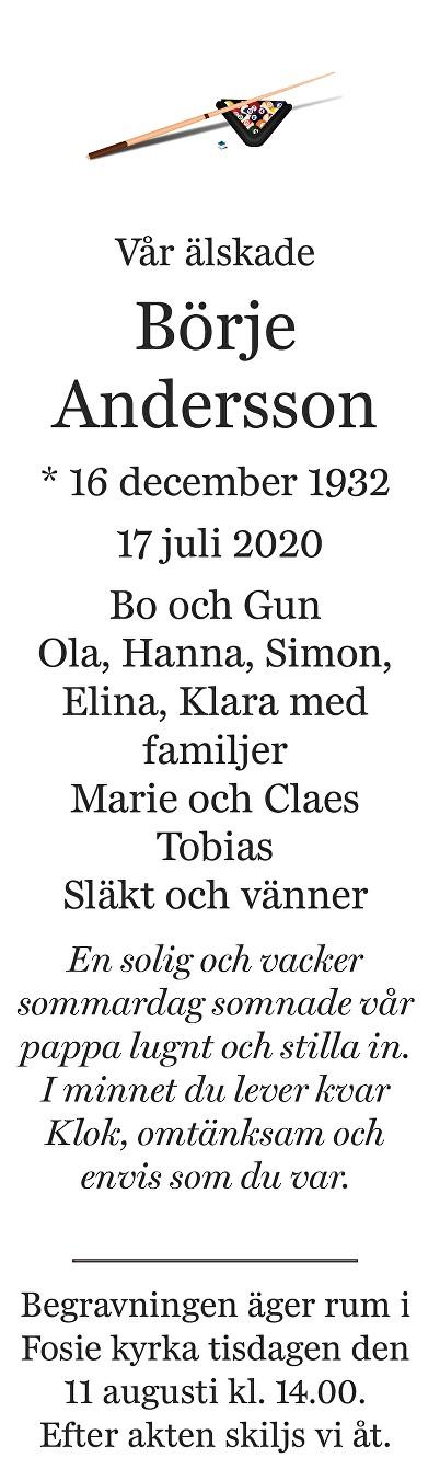 Börje Andersson Death notice