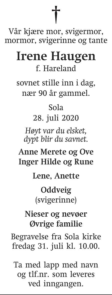 Irene  Haugen Dødsannonse