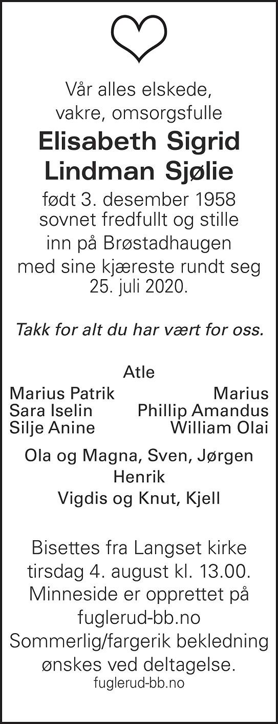Elisabeth Sigrid Lindman Sjølie Dødsannonse