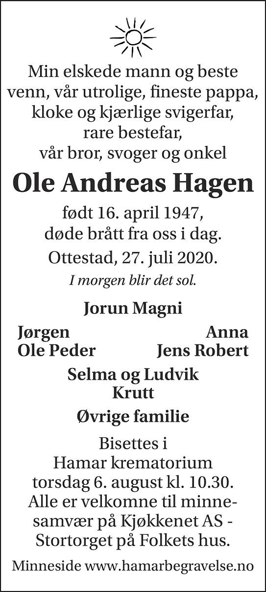 Ole Andreas Hagen Dødsannonse