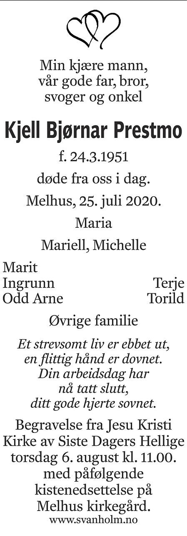 Kjell Bjørnar Prestmo Dødsannonse