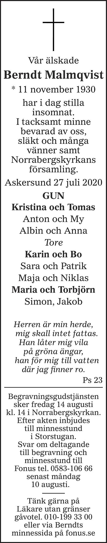 Berndt Malmqvist Death notice