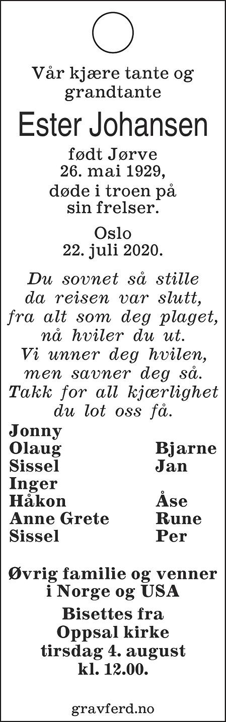 Ester Jørve Johansen Dødsannonse