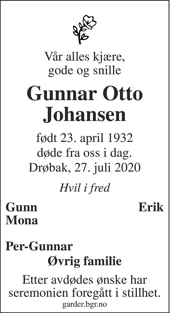 Gunnar Otto Johansen Dødsannonse