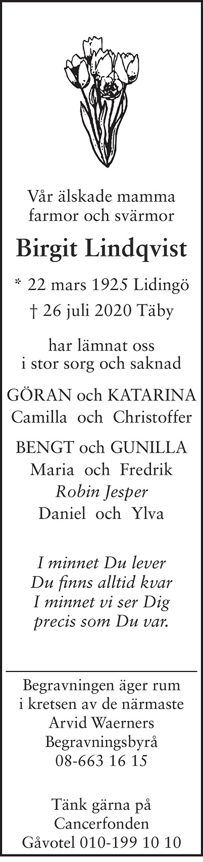 Birgit Lindqvist Death notice