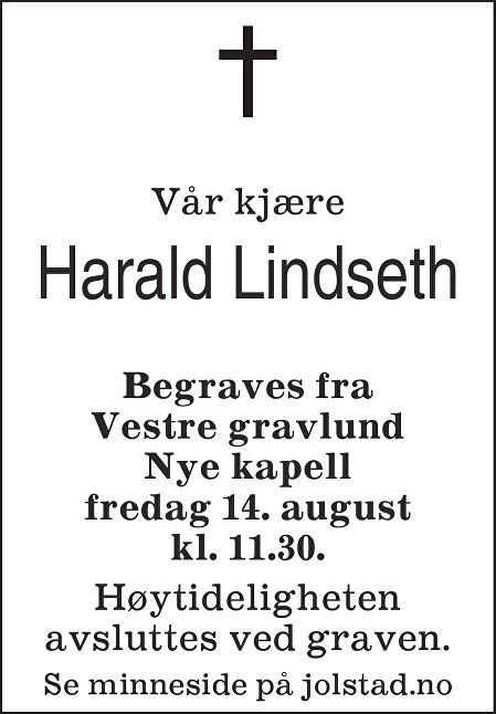 Harald Lindseth Dødsannonse
