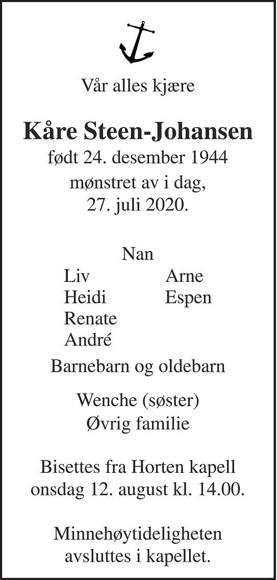 Kåre Steen-Johansen Dødsannonse