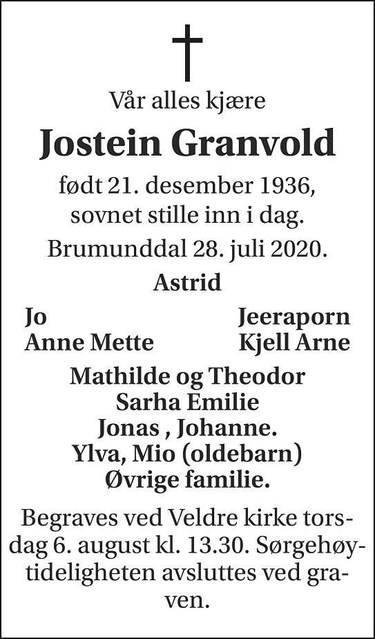 Jostein  Granvold Dødsannonse