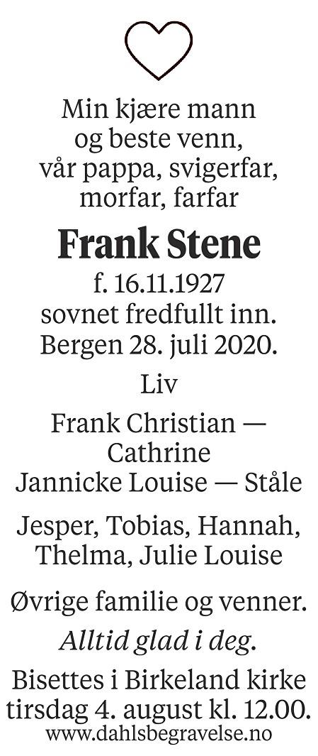 Frank Stene Dødsannonse