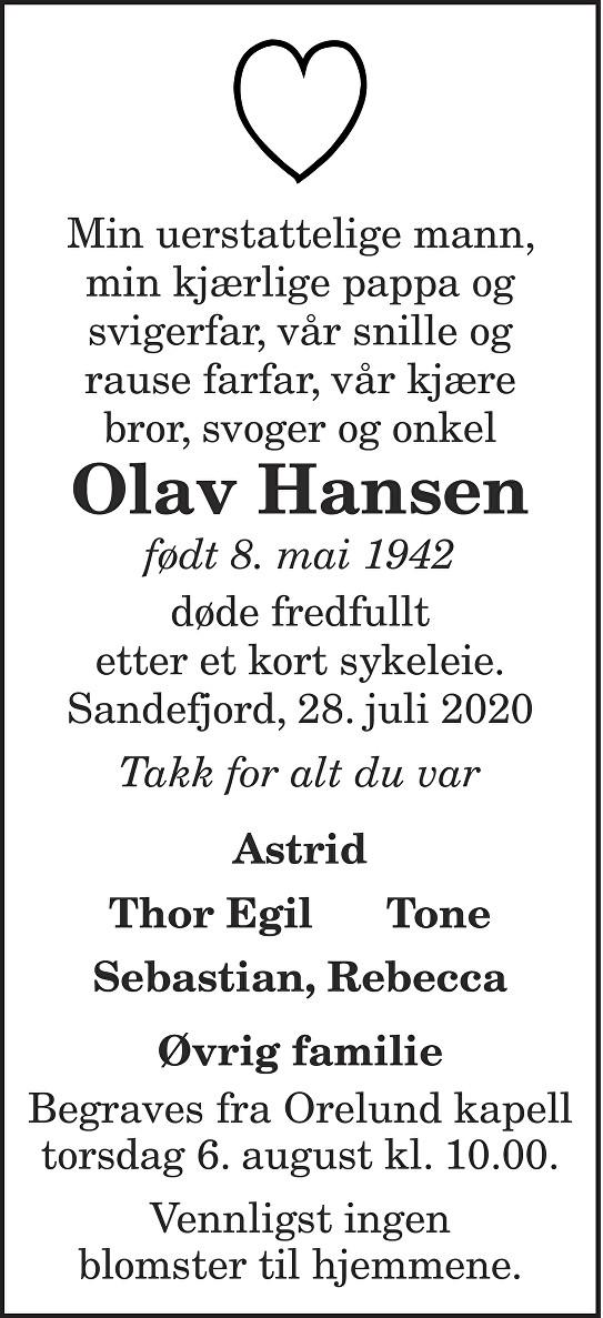 Olav Hansen Dødsannonse