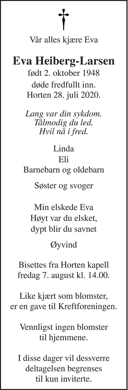 Eva Heiberg-Larsen Dødsannonse