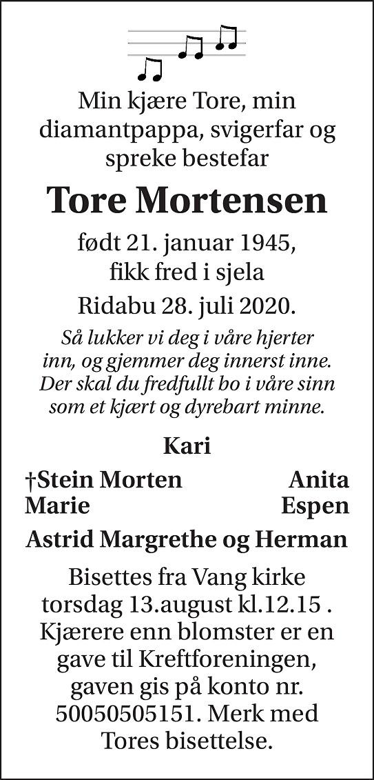 Tore Mortensen Dødsannonse