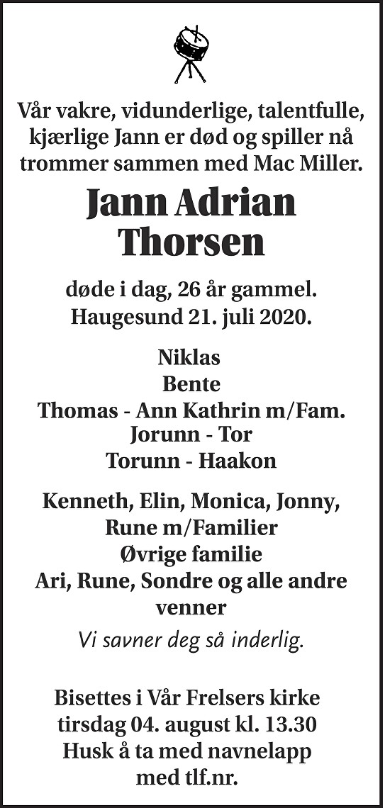 Jann Adrian Thorsen Dødsannonse