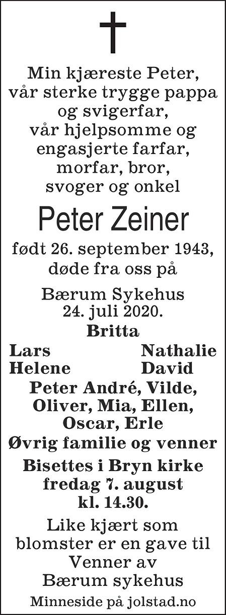 Peter Zeiner Dødsannonse