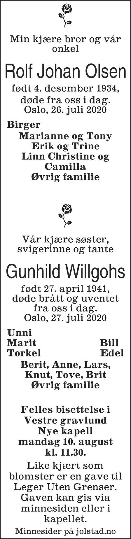Gunhild Willgohs Dødsannonse