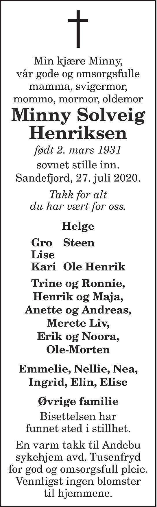 Minny Solveig Henriksen Dødsannonse