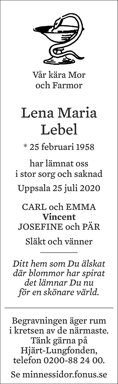Lena Maria Lebel Death notice