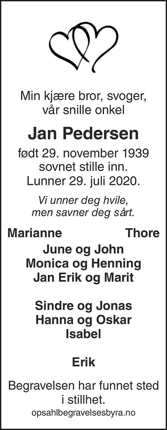 Jan Pedersen Dødsannonse
