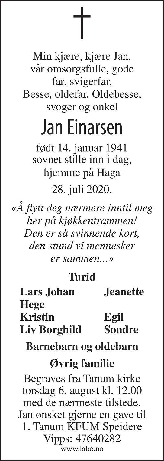 Jan Einarsen Dødsannonse