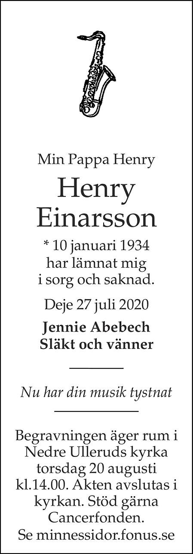 Henry Einarsson Death notice