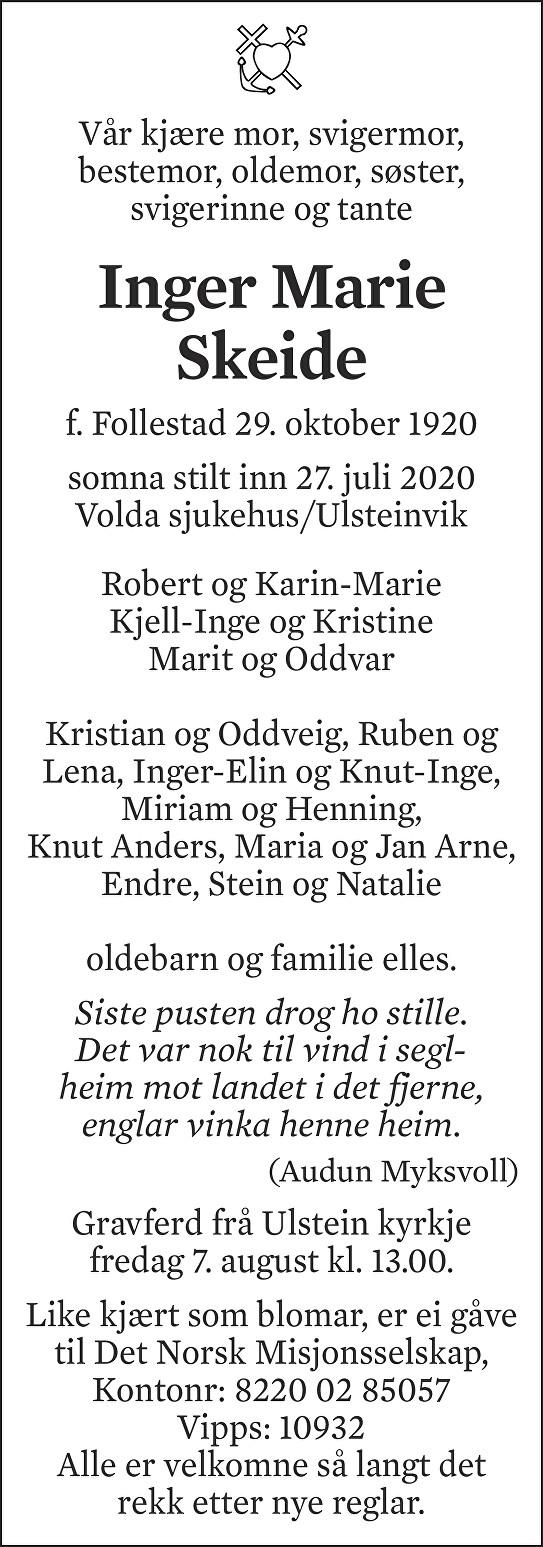 Inger Marie Skeide Dødsannonse