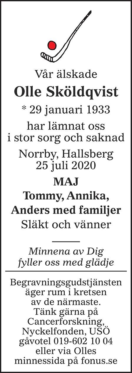 Olle Sköldqvist Death notice