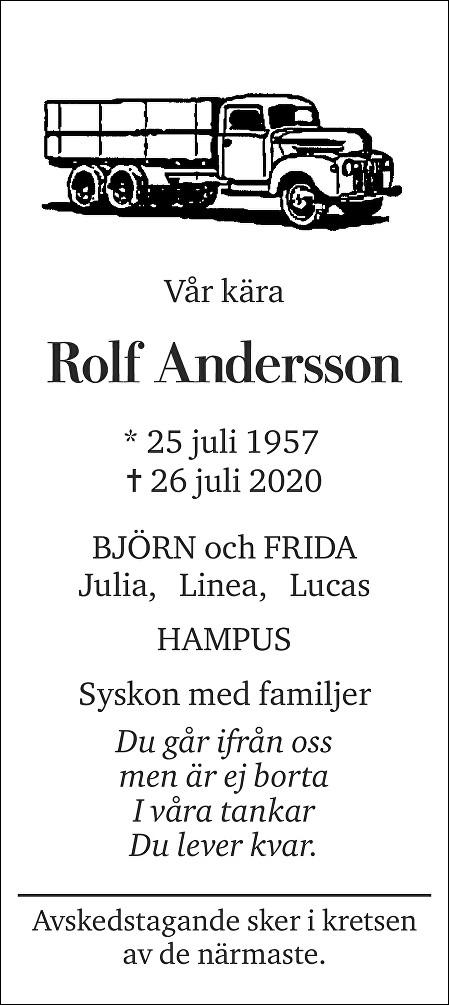 Rolf Andersson Death notice