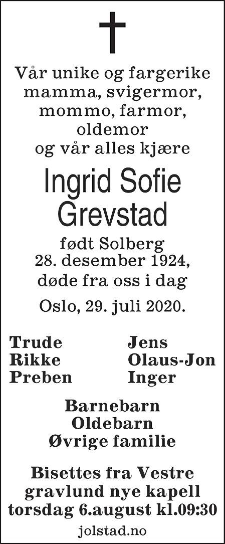 Ingrid Sofie Grevstad Dødsannonse